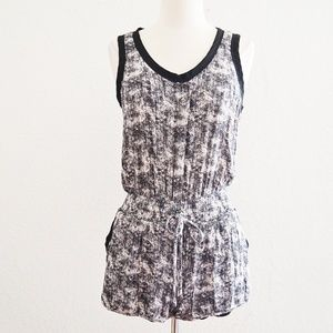 Black and White Drawstring Romper Sleeveless